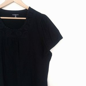 Croft & Barrow Basic Black T-Shirt With Embroidery